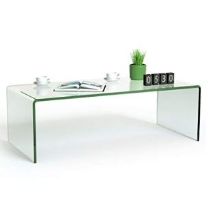 """Tangkula Glass Coffee Table, 42.5"""" L × 20"""" W ×14"""" H, Modern Home Furniture, Clear Tempered Glass End Table, International Occasion Tea Table, Waterfall Table with Rounded Edges (Clear)"""