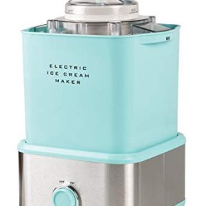 Nostalgia Aqua Blue Electric Ice Cream Maker with Candy Crusher, 2 quart