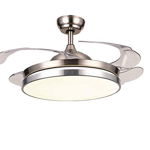 """Lighting Groups 42"""" Invisible Ceiling Fans with Light Remote Control 4 Retractable Clear ABS Blades Bedroom Livingroom Fan Chandelier Indoor LED Ceiling Light Kits with Fans (Chrome-05)"""