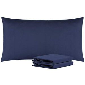 "NTBAY King Pillowcases Set of 2, 100% Brushed Microfiber, Soft and Cozy, Wrinkle, Fade, Stain Resistant with Envelope Closure, 20""x 36"", Navy"