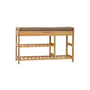 "C&AHOME Shoe Rack Bench, Entryway 3-Tier Shoe Organizer, Max Load 270 LBS, Bamboo Storage Shelf with Cushion for Boots, Modern Stool for Bedroom Living Room, 31.5"" L x 11.6"" W x 19.3"" H Natural"