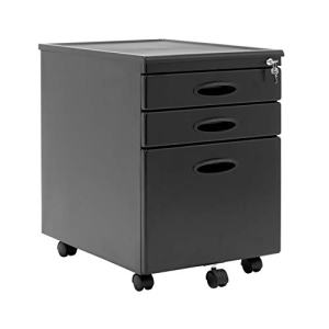 Calico Designs Metal Full Extension, Locking, 3-Drawer Mobile File Cabinet Assembled (Except Casters) for Legal or Letter Files with Supply Organizer Tray in Black