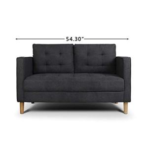 "AODAILIHB Modern Soft Cloth Tufted Cushion Loveseat Sofa Small Space Configurable Couch 54.3"" (Dark Grey)"