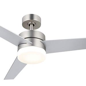 CO-Z 52'' Modern Ceiling Fan with Lights and Remote, Contemporary Ceiling Fans Brushed Nickel, Indoor LED Ceiling fan for Kitchen Bedroom Living Room, 3 Reversible Blades in Silver and Walnut Finish, ETL certificate