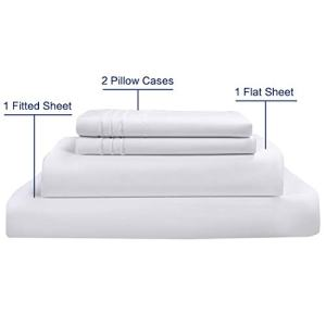 COTTONHOUSE 1000 Thread Count Imported 100% Organic Cotton Sheets Luxury Hotel Collection Egyption Cotton White Queen Size 4 Pieces Sheet Set with deep Pocket, Machine Washable