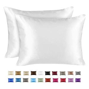 ShopBedding Luxury Satin Pillowcase for Hair – Queen Satin Pillowcase with Zipper, White (Pillowcase Set of 2) – Blissford