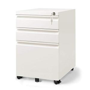 DEVAISE 3 Drawer Mobile File Cabinet with Lock, Fully Assembled Except Casters, Letter / Legal Size, White
