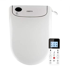 Euroto Smart Toilet Bidet Luxe Elongated, Unlimited Warm Water, Toilet Seats Adjustable Heated Seat, Dual Memory, Water Dual Nozzle Feminine Wash, Wireless Remote Control, Nightlight, 2020 Model