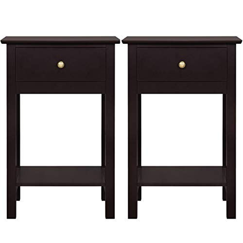 Yaheetech Nightstands Bedside Table Cabinet with Drawer Storage Shelf for Bedroom, Set of 2, Espresso