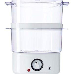 J-Jati-FS203A White 5.0 Quart 2-Tier Stack able Baskets Healthy Food Steamer, Auto Shutoff & Boil Dry Protection for Cooking Vegetables, Grains, Meats, Poultry, and many more!!