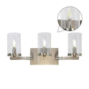 TULUCE Modern3-Light Vanity Lighting,Industrial Wall Mounted lamp,Luxury Diamond Decoration Wall Lights with Clear seedy Glass Shade Brushed Nickel Finished for Bathroom Hallway Kitchen Porch