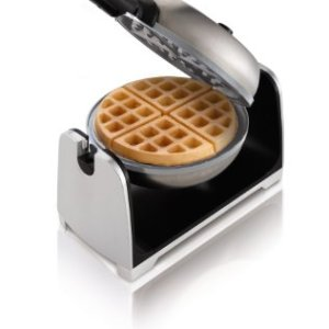 Oster Titanium Infused DuraCeramic Flip Waffle Maker, Stainless Steel (CKSTWFBF22-TECO)