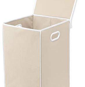 Simple Houseware Foldable Laundry Hamper Basket with Lid, Beige
