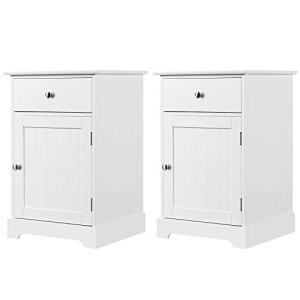 Yaheetech 2pcs Wood Nightstands, End Tables with Storage Cabinet and Drawer, Height Adjustable Shelf, White