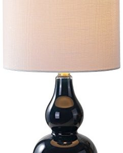 "JONATHAN Y JYL1028F Anya 20.5"" Mini Glass LED Lamp Transitional,Glam,Midcentury for Bedroom, Living Room, Office, College Dorm, Coffee Table, Bookcase, Navy"