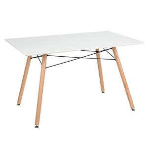 """GreenForest Dining Table Rectangular Top Modern Leisure Coffee Table Home and Kitchen 44"""" x 30"""" White"""