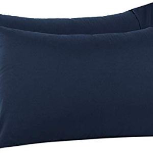 Lukeville Luxury Linen 800 Thread Count Pillowcase Set of 2 100% Cotton Pillowcover 4 Inch Top Hem Long Staple Cotton Pillow Cover,Sateen Finish,Soft,Breathable Navy Blue Solid King Size (20 X 40)
