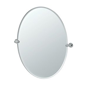 Gatco 4689LG Channel Large Oval Mirror Chrome, 32 H x 28.5 W