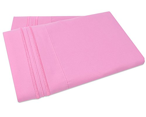 Mezzati Luxury Two Pillow Cases – Soft and Comfortable 1800 Prestige Collection – Brushed Microfiber Bedding (Pink, Set of 2 King Size Pillow Cases)