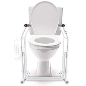Pivit Stand Alone Toilet Safety Rails   Medical Bathroom Assist Frame with Support Grab Bars Handles & Railings for Elderly, Senior, Handicap & Disabled   Freestanding Commode Handrails