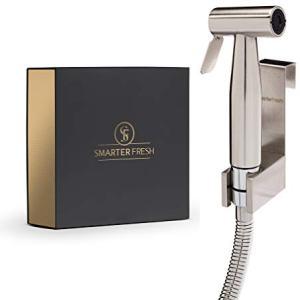 SmarterFresh SF-B80H Held, Premium Brass Diaper Shattaf-Complete Set Shower, Hand Bidet Toilet Attachment Sprayer, Silver
