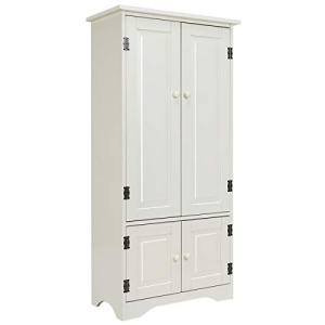 "Giantex Accent Floor Storage Cabinet Adjustable Shelves Antique 2-Door Low Floor Cabinet Pantry 24"" Lx13 Wx49''H (White)"
