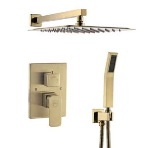 """Gagal Shower system, Brushed Gold Shower Faucet Set for Bathroom with High Pressure 12"""" Rain Shower head Handheld, Bathroom Luxury Rain Mixer Shower Combo Set Wall Mounted"""