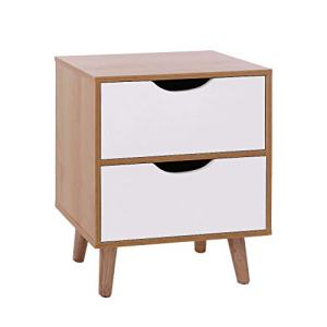 Small Nightstand,Jchen 【Ship from USA】 End Side Table Nightstand with Storage Drawer Solid Wood Legs Living Room Bedroom Furniture (C)