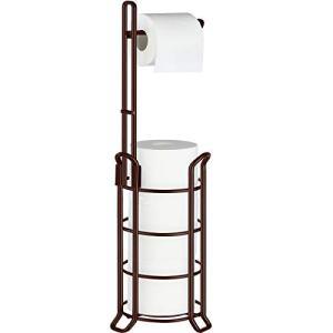 TomCare Toilet Paper Holder Toilet Paper Stand and Dispenser for 3 Spare Rolls Metal Wire Free-Standing Toilet Tissue Paper RollStorage Shelf Bathroom Accessories Storage Organizer Bronze