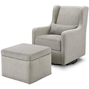 Carter's by Davinci Adrian Swivel Glider with Storage Ottoman in Grey Linen, Water Repellent and Stain Resistant Fabric, Greenguard Gold Certified