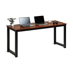 "DECOHOLIC Modern Computer Desk 63"" Large Workstation Office Desk Computer Table Study Writing Desk for Office Home, with Leg Bars,Industrial Style, Sandalwood Board Black Leg"