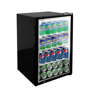 KITMA 120 Can Beverage Refrigerator and Cooler - 3 Cu. Ft Small Mini Fridge with Glass Door for Beer, Soda, Wine - for Office, Bar