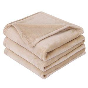 """EMME Fleece Blanket Queen Size Tan Lightweight Super Soft Microfiber Velvet Plush Throw Blanket 300GSM Bed Blanket Cozy Nap Luxury Couch Bed Warm Blanket (Tan, 90""""x90"""")"""