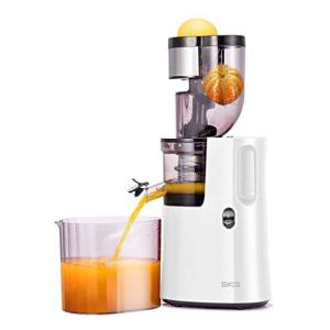 SKG Slow Masticating Juicer Wide Chute Cold Press Juicer Machine BPA Free (200W AC Motor, 45 RPM), White
