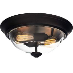 "Prominence Home 51379 Designer Series Flushmount Lighting, 13"" Clear Glass, Low Profile, Bronze"