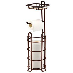 TomCare Toilet Paper Holder Toilet Paper Stand 4 Raised Feet Bathroom Accessories Portable Tissue Paper Dispenser Reserve Free Standing Toilet Paper Roll Storage Shelf Bathroom Bronze