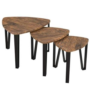 Homfa Nesting Coffee Tables, Set of 3 End Tables, Vintage Side Tables Bedroom, Nightstand Modern Furniture Decor Table Sets, Sturdy and Easy Assembly, Accent Furniture in Home Office-Rustic Brown