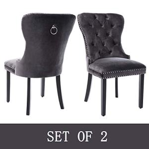 Upholstered Velvet Dining Chairs with Luxurious Button and Nailhead Set of 2, Wing Back Dining Chairs with Ring for Dining Room/Kitchen/Living Room (Dark Gray)