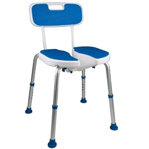 PCP Shower Safety Seat, Cutout for Easy Cleaning, Non-Slip Bath Support Recovery Chair with Backrest, White/Blue