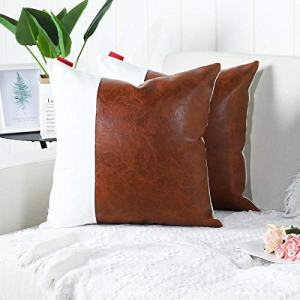 Mandioo Pack of 2 Luxury Faux Leather and Cotton Decorative Throw Pillow Covers Set Cushion Cases Pillowcases for Couch Sofa Bedroom Car 20x20 Inches,Brown White