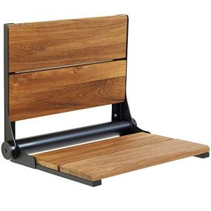 Lifeline Teak Wood Folding Shower Seat - Wall Mounted Bench/Bathroom Safety & Mobility Aid/Easy to Fold Down/Seniors & Disabled/ADA Compliant/304 Stainless Steel/Black Matte Frame/18 x 16 inch