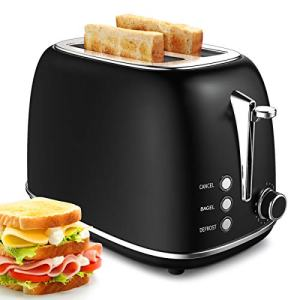 2 Slice Toaster, Morpilot Extra Wide Slot Toaster, Retro Bagel Toaster with 6 Bread Shade Settings, Defrost/Bagel/Cancel Function, Removable Crumb Tray, Stainless Steel Toaster, Black