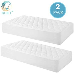 2 Pack Quilted Fitted Waterproof Crib Mattress Protector, Soft Breathable Organic Bamboo Baby Waterproof Mattress Pad, Natural Vinyl Free Mattress Cover for Stains Proof