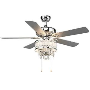 "Tangkula 52"" Ceiling Fan with Lights, Classical Design Crystal Ceiling Fan with Pull Chain Control, Elegant Modern Ceiling Fans with Chandeliers 5 Iron Reversible Blades, Metal Cover, Mute Motor (Silver)"