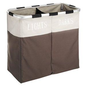 Whitmor Easycare Double Laundry Hamper - Lights and Darks Separator - Java