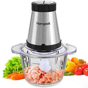Homgeek Meat Grinder, Food Chopper Processor with 5 Cups & 300-watt, for Mincing, Chopping, Grinding, Blending and Meal Prep