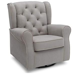 Delta Children Emerson Upholstered Glider Swivel Rocker Chair, Dove Grey with Soft Grey Welt