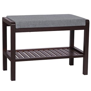SONGMICS Bamboo Shoe Bench Rack with Cushion Upholstered Padded Seat Storage Shelf Bench for Entryway Bedroom Living Room Hallway Garage ULBS65C