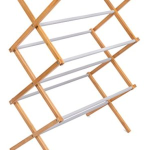 BIRDROCK HOME Folding Steel Clothes Drying Rack - 3 Tier - Water-Resistant Bamboo Wood - Fully Assembled Collapsible Dry Rack - Grey