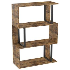 IRONCK Bookshelf and Bookcases 3 Tier Display Shelf, S-Shaped Metal and Wood Bookshelves, Freestanding Multifunctional Decorative Storage Shelving for Home Office, Vintage Brown Industrial Style